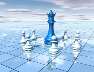 3d abstract dimensional background with chess pieces team
