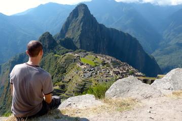 Looking down Machu Picchu