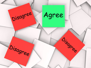 Agree Disagree Post-It Notes Mean For Or Against