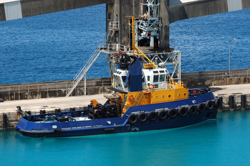 Blue tug boat