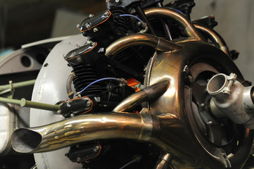Close-up view of radial engine