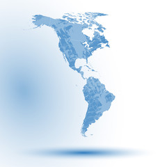 North and South America map on blue background