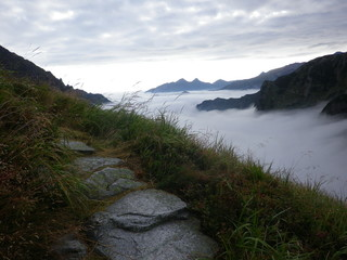 Mountain trail in Europe - the challenge of the morning
