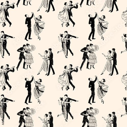 pattern of the vintage dancing couples - 64375068