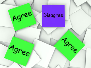 Agree Disagree Post-It Notes Mean Agreeing Or Opposing
