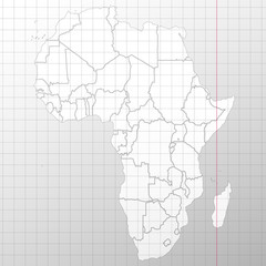 Africa map in a cage on white background vector