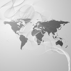 world map on the gray smoke background vector