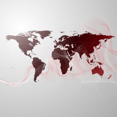 world map on the red smoke background vector