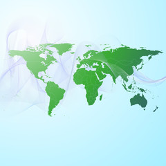world map on the green smoke background vector