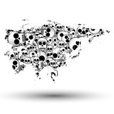 Eurasia map in the form of skulls background poster