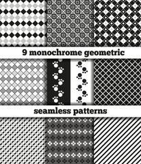 Set of black-white monochrome geometric seamless patterns