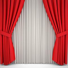 Opened red curtain lit Spotlight