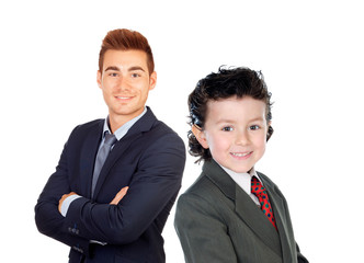 Businessmen. Little child and young men