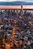New York aerial cityscape at sunset