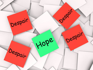 Hope Despair Post-It Notes Show Longing And Desperation