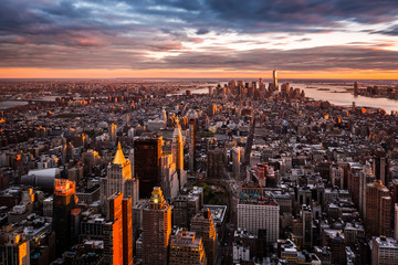 Aerial view of the Manhattan skyline at sunset