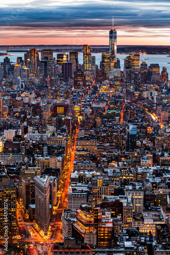 New York aerial cityscape at sunset Poster
