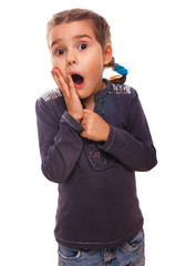 teen scared girl child opened her mouth feels fear and horror is