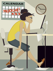 Woman working under deadline