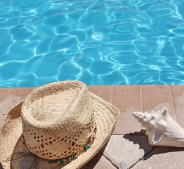 Poolside holiday scenic hat pool conch shell