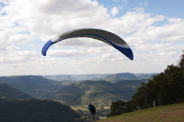 Taking off on Paragliding at Rio Grande do Sul, Brazil
