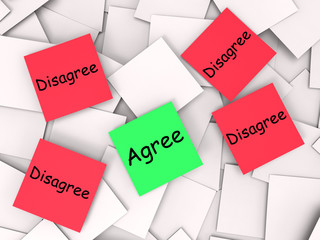Agree Disagree Post-It Notes Mean Opinion Agreement Or Disagreem
