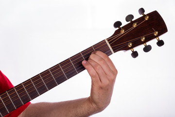 the picture shows how to play a A chord
