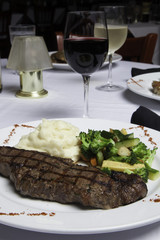 New York Strip Steak with Mashed Potatoes and Mixed Vegetables 2