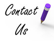 Contact Us Sign with Pencil Shows Customer Care
