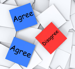 Agree Disagree Post-It Notes Mean Opinion And Point Of View
