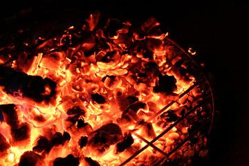 Red Hot Coals in a Campfire