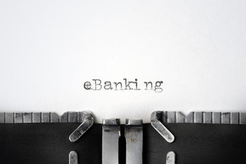 """eBanking"" written on an old typewriter"