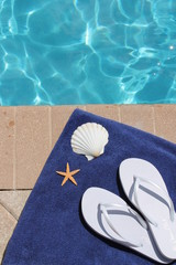 Poolside holiday vacation scenic shell starfish shoes