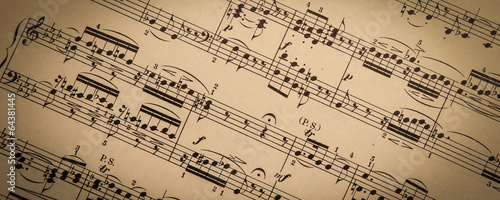 Foto op Canvas Muziekwinkel Vintage Sheet Music