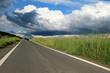 new asphalt road on european countryside