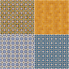 Set of four ceramic tiles patterns