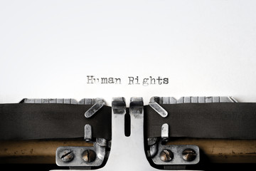 """""""Human Rights"""" written on an old typewriter"""