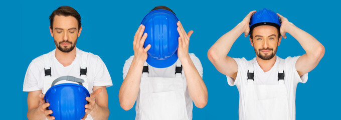 Sequence of three poses of a man donning a hardhat