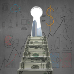 Money stairs to key shape door with business doodles