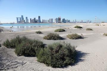 Abu Dhabi skyline as seen from Saadiyat Island