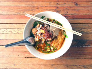 thai pork noodle soup
