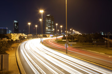 Corniche road at night in Abu Dhabi, United Arab Emirates
