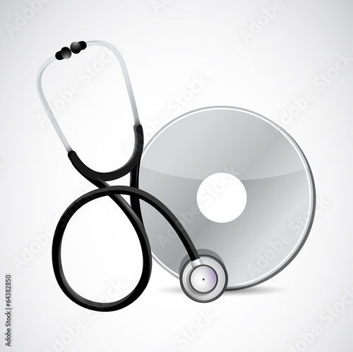 stethoscope and cd illustration design
