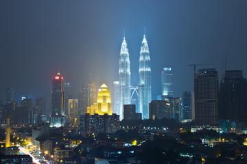 Kuala lumpur, malaysia at night Petronas Bldg Twin Towers