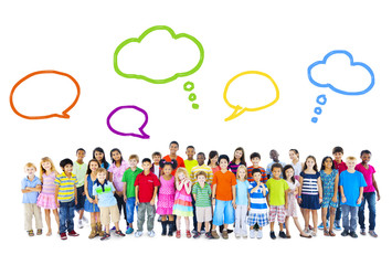 Group of Multiethnic Children Speech Bubbles