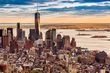 Fototapety Aerial view of the Lower Manhattan at sunset