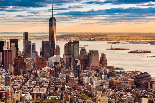 Aerial view of the Lower Manhattan at sunset