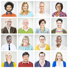 Portraits of Multiethnic Diverse Colorful People
