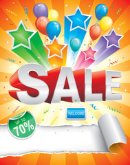 Sale design template with carnival background.