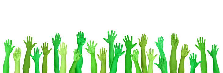 Green Environmental Conscious Hands Raised